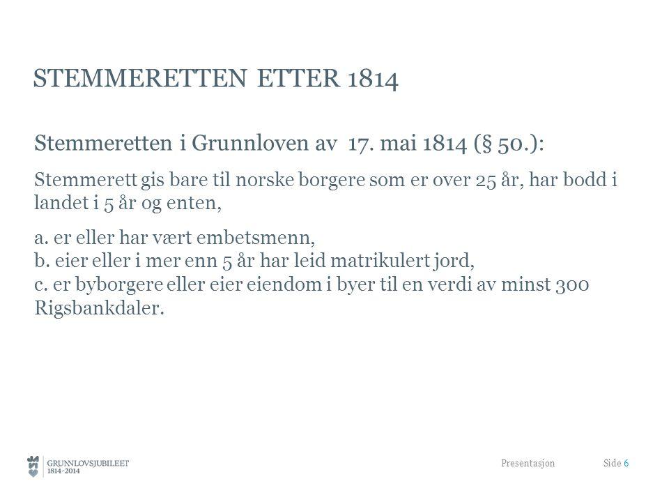 STEMMERETTEN ETTER 1814 Stemmeretten i Grunnloven av 17.