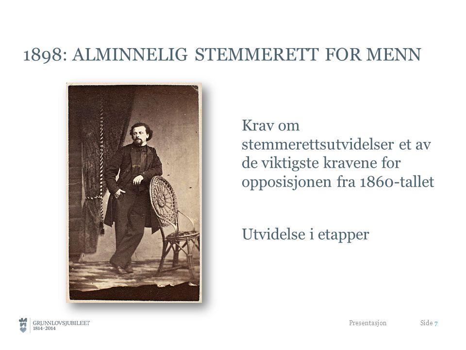 1898: ALMINNELIG STEMMERETT FOR MENN Krav om stemmerettsutvidelser et av de viktigste kravene for opposisjonen fra 1860-tallet Utvidelse i etapper Presentasjon Side 7