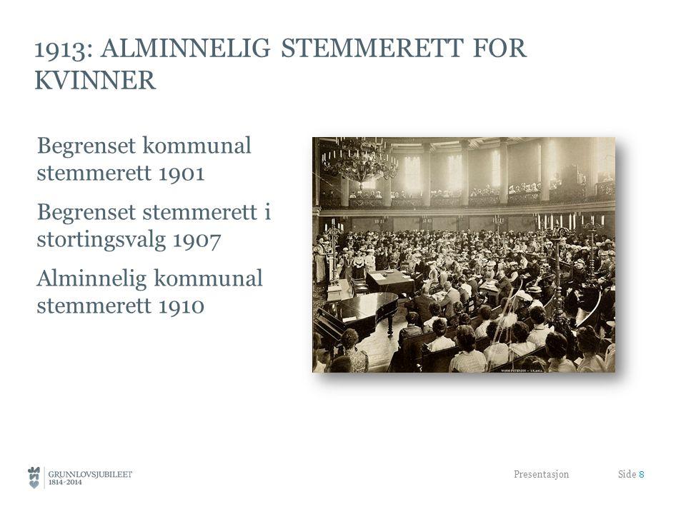 1913: ALMINNELIG STEMMERETT FOR KVINNER Begrenset kommunal stemmerett 1901 Begrenset stemmerett i stortingsvalg 1907 Alminnelig kommunal stemmerett 1910 Presentasjon Side 8
