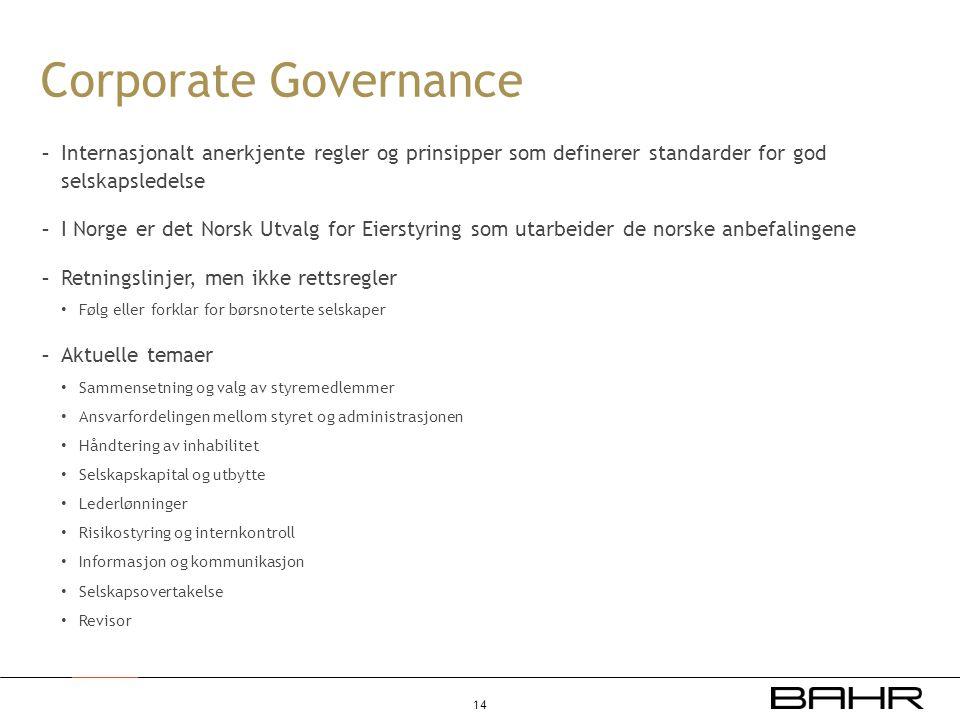 Corporate Governance - Internasjonalt anerkjente regler og prinsipper som definerer standarder for god selskapsledelse - I Norge er det Norsk Utvalg f