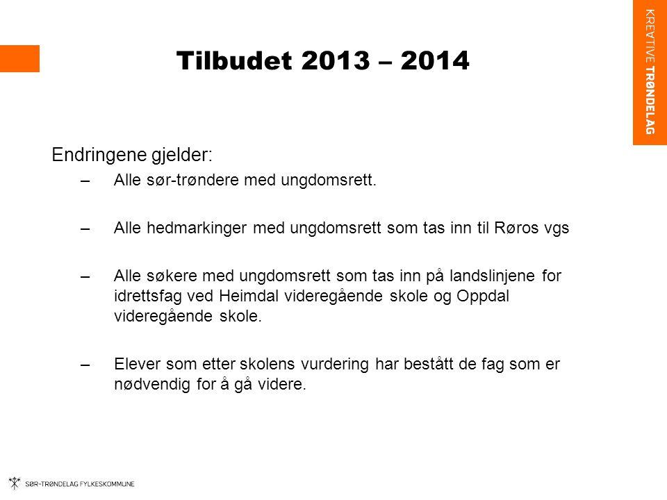 Tilbudet 2013 – 2014 Endringene gjelder: –Alle sør-trøndere med ungdomsrett.