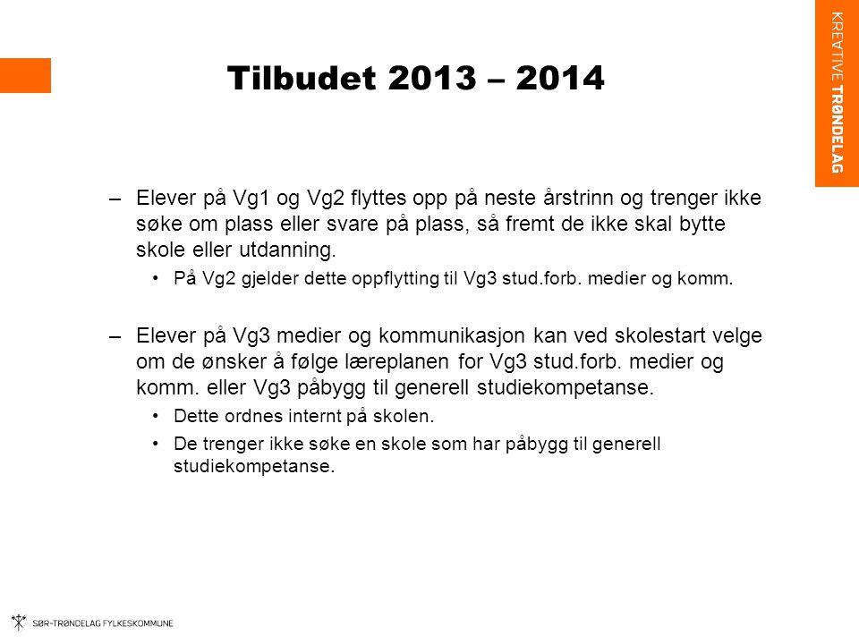 Tilbudet 2013 – 2014 5.Utvekslingselever: Eleven sender søknad om permisjon og reservasjon om elevutveksling til egen skole.