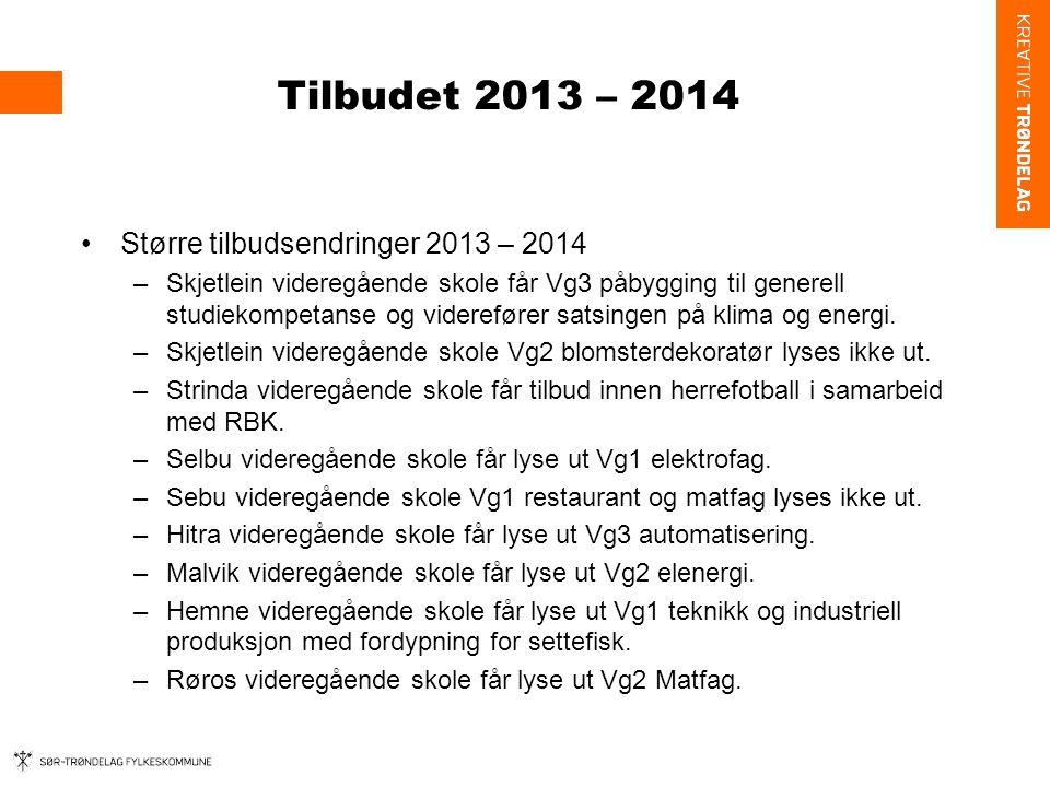 Tilbudet 2013 – 2014 Større tilbudsendringer 2013 – 2014 –Skjetlein videregående skole får Vg3 påbygging til generell studiekompetanse og viderefører satsingen på klima og energi.