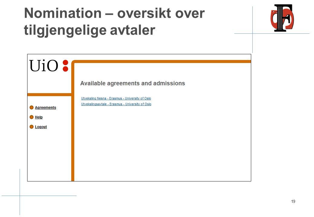 Nomination – oversikt over tilgjengelige avtaler 19