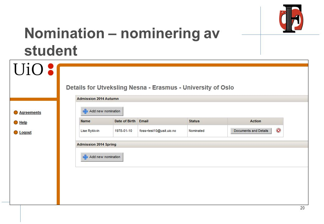 Nomination – nominering av student 20