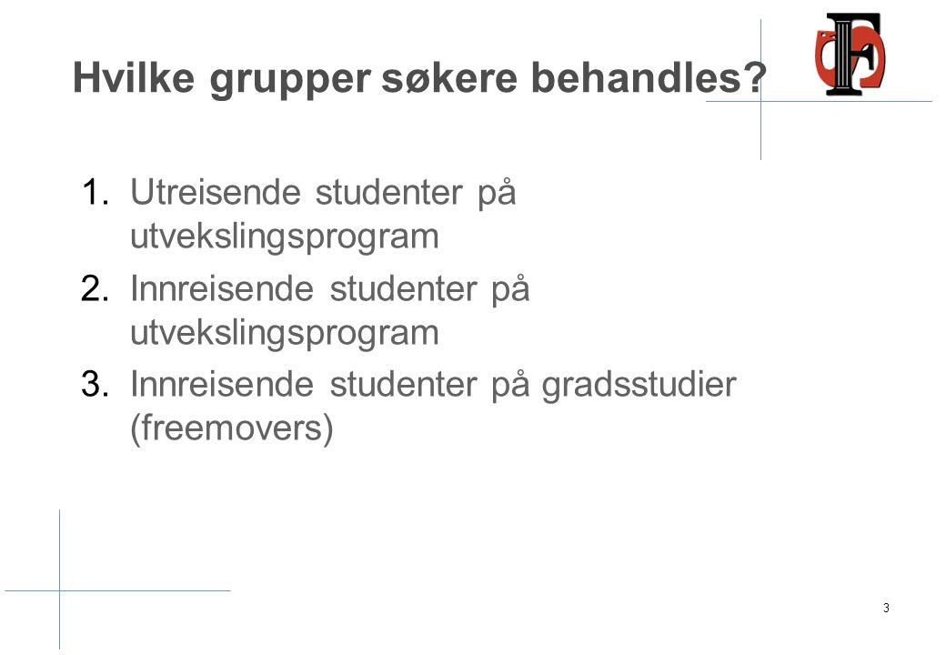 Hvilke grupper søkere behandles? 1.Utreisende studenter på utvekslingsprogram 2.Innreisende studenter på utvekslingsprogram 3.Innreisende studenter på