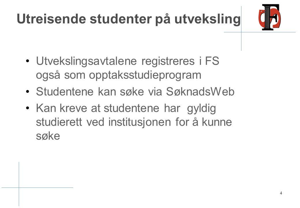 Utvekslingsavtalene registreres i FS også som opptaksstudieprogram Studentene kan søke via SøknadsWeb Kan kreve at studentene har gyldig studierett ve