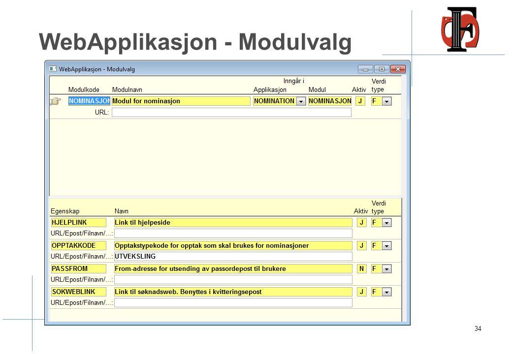 WebApplikasjon - Modulvalg 34