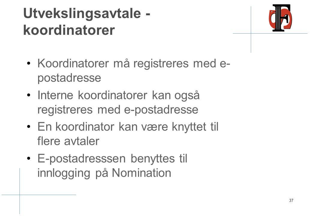 Utvekslingsavtale - koordinatorer Koordinatorer må registreres med e- postadresse Interne koordinatorer kan også registreres med e-postadresse En koordinator kan være knyttet til flere avtaler E-postadresssen benyttes til innlogging på Nomination 37