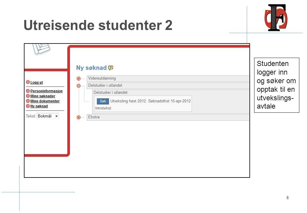 Studenten får epost med informasjon om innlogging i SøknadsWeb for å fullføre søknaden.