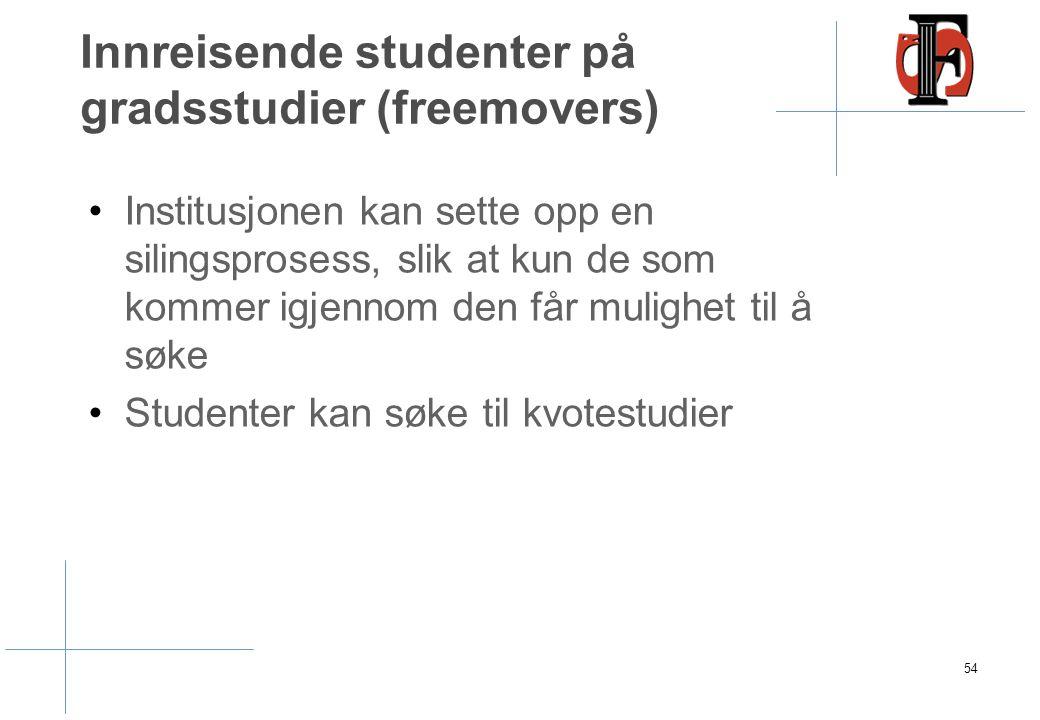 Innreisende studenter på gradsstudier (freemovers) Institusjonen kan sette opp en silingsprosess, slik at kun de som kommer igjennom den får mulighet til å søke Studenter kan søke til kvotestudier 54