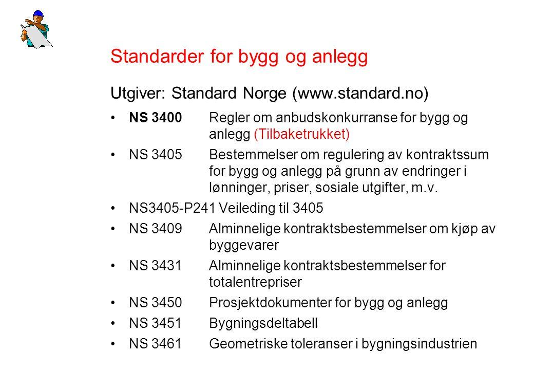 Standarder for bygg og anlegg Utgiver: Standard Norge (www.standard.no) NS 3400Regler om anbudskonkurranse for bygg og anlegg (Tilbaketrukket) NS 3405