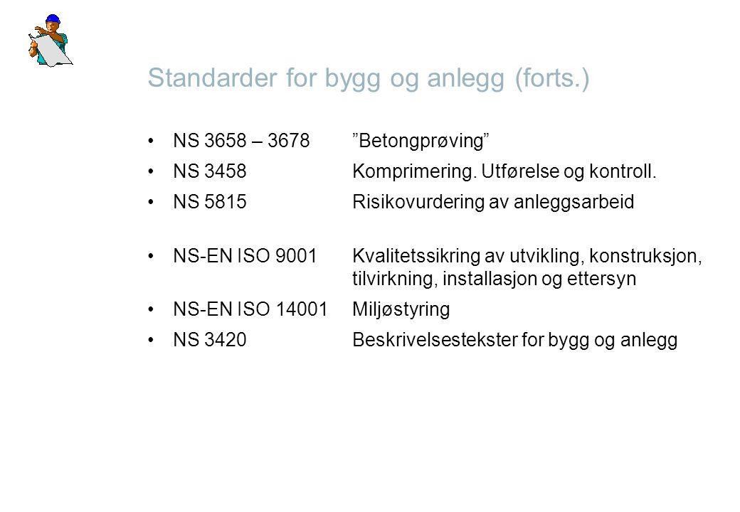 """Standarder for bygg og anlegg (forts.) NS 3658 – 3678""""Betongprøving"""" NS 3458Komprimering. Utførelse og kontroll. NS 5815Risikovurdering av anleggsarbe"""
