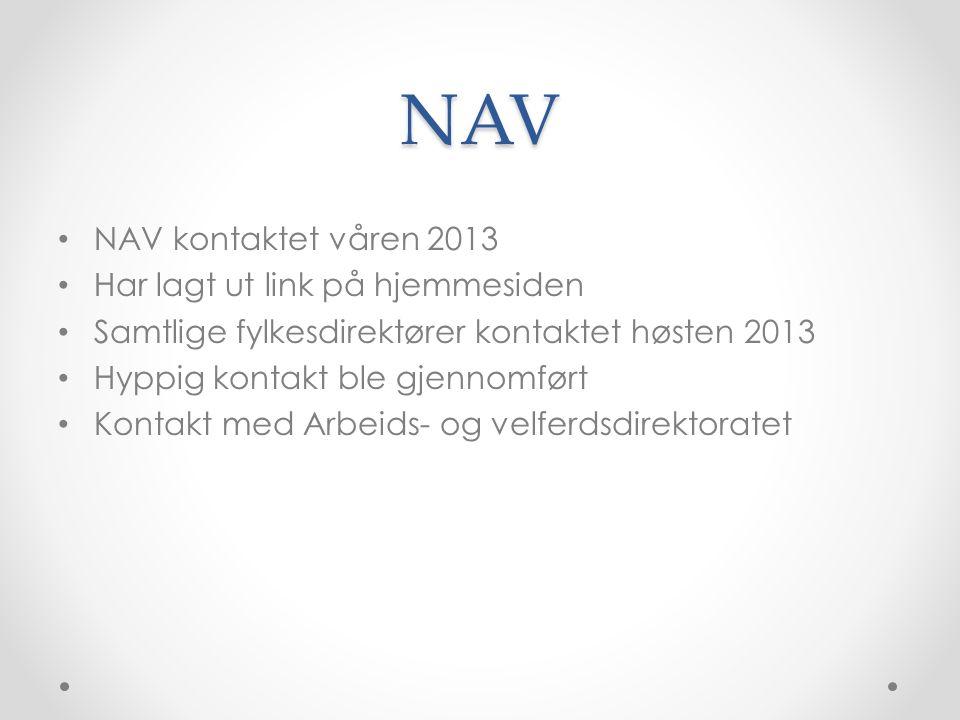 NAV NAV kontaktet våren 2013 Har lagt ut link på hjemmesiden Samtlige fylkesdirektører kontaktet høsten 2013 Hyppig kontakt ble gjennomført Kontakt med Arbeids- og velferdsdirektoratet