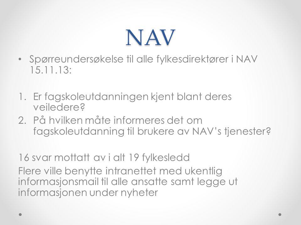 NAV Spørreundersøkelse til alle fylkesdirektører i NAV 15.11.13: 1.Er fagskoleutdanningen kjent blant deres veiledere.