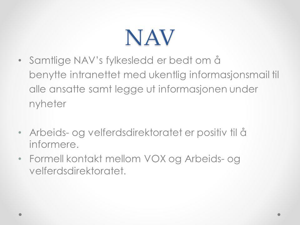 NAV Samtlige NAV's fylkesledd er bedt om å benytte intranettet med ukentlig informasjonsmail til alle ansatte samt legge ut informasjonen under nyheter Arbeids- og velferdsdirektoratet er positiv til å informere.
