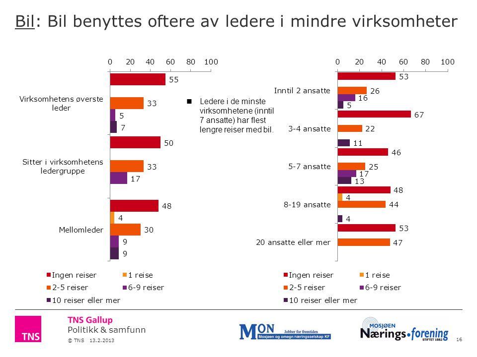 Politikk & samfunn © TNS 13.2.2013 Bil: Bil benyttes oftere av ledere i mindre virksomheter 16 Ledere i de minste virksomhetene (inntil 7 ansatte) har flest lengre reiser med bil.