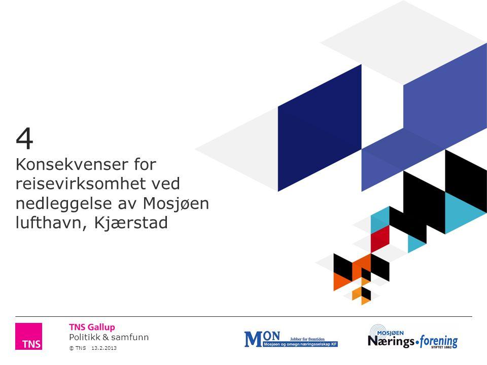 Politikk & samfunn © TNS 13.2.2013 4 Konsekvenser for reisevirksomhet ved nedleggelse av Mosjøen lufthavn, Kjærstad