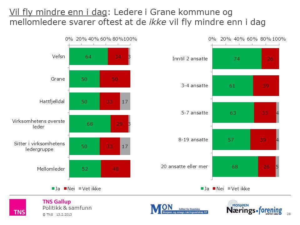 Politikk & samfunn © TNS 13.2.2013 Vil fly mindre enn i dag: Ledere i Grane kommune og mellomledere svarer oftest at de ikke vil fly mindre enn i dag 28