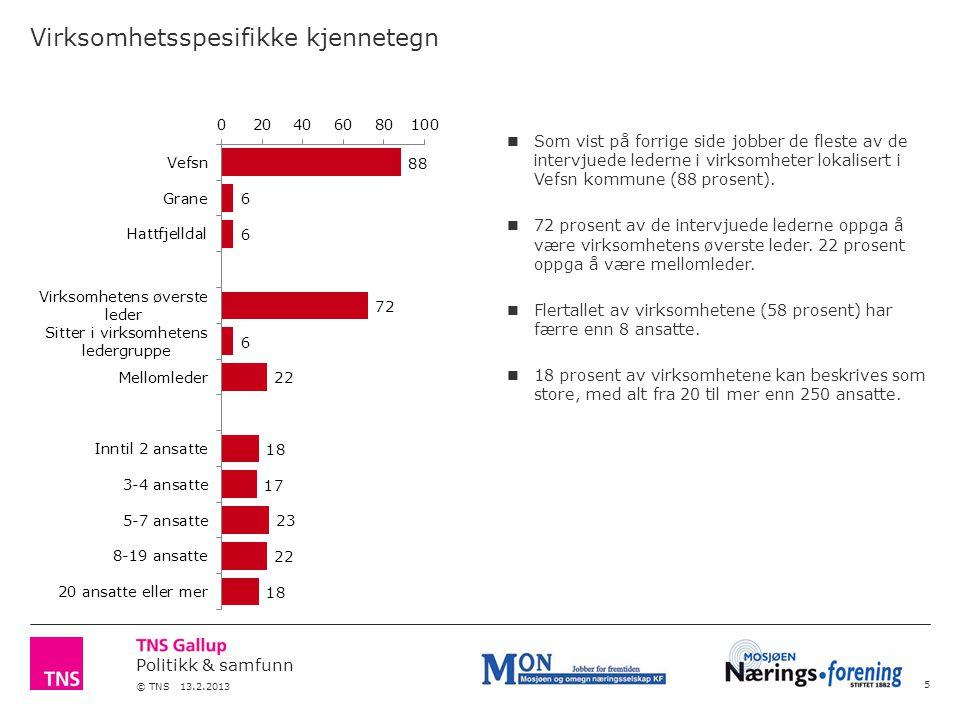 Politikk & samfunn © TNS 13.2.2013 Virksomhetsspesifikke kjennetegn 5 Som vist på forrige side jobber de fleste av de intervjuede lederne i virksomheter lokalisert i Vefsn kommune (88 prosent).