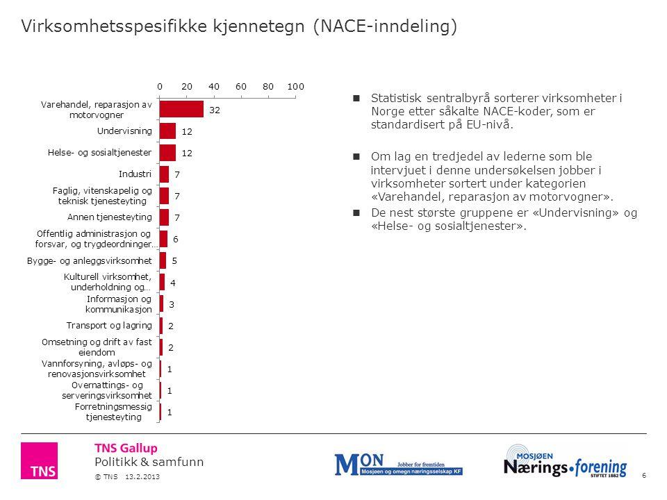 Politikk & samfunn © TNS 13.2.2013 Virksomhetsspesifikke kjennetegn (NACE-inndeling) 6 Statistisk sentralbyrå sorterer virksomheter i Norge etter såkalte NACE-koder, som er standardisert på EU-nivå.