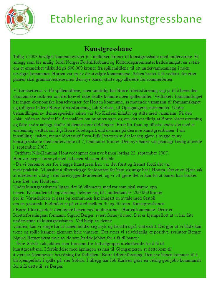 Kunstgressbane Tidlig i 2003 bevilget kommunestyret 6,5 millioner kroner til kunstgressbane med undervarme. Et anlegg som ble mulig fordi Norges Fotba