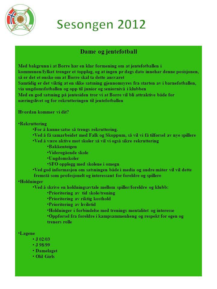 Dame og jentefotball Med bakgrunn i at Borre har en klar formening om at jentefotballen i kommunen/fylket trenger et topplag, og at ingen pr dags dato