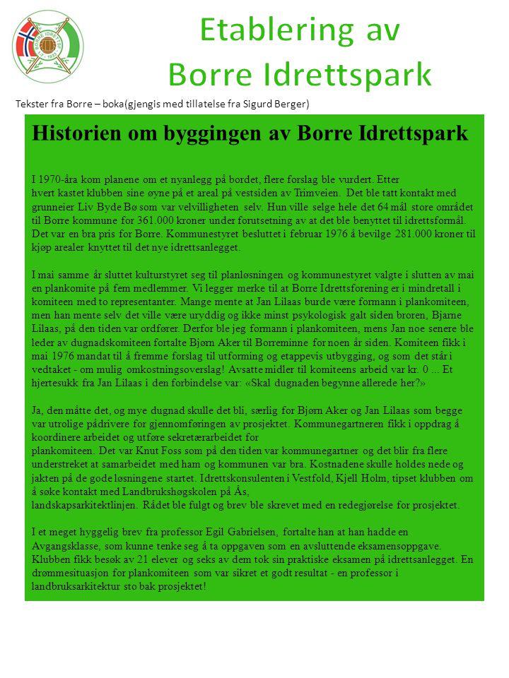 Tekster fra Borre – boka(gjengis med tillatelse fra Sigurd Berger) Historien om byggingen av Borre Idrettspark I 1970-åra kom planene om et nyanlegg p