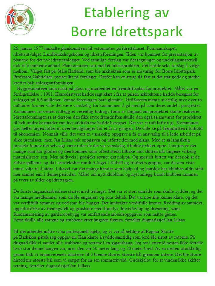 26. januar 1977 innkalte plankomiteen til «stormøte» på idrettshuset. Formannskapet, idrettsutvalget, Landbrukshøgskolen og idrettsforeningen. Tiden v