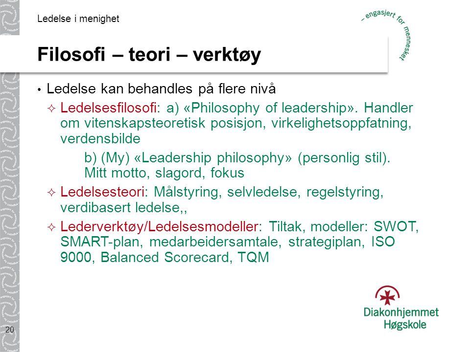 Filosofi – teori – verktøy Ledelse kan behandles på flere nivå  Ledelsesfilosofi: a) «Philosophy of leadership».