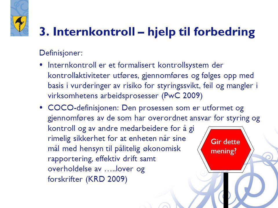 3. Internkontroll – hjelp til forbedring Definisjoner:  Internkontroll er et formalisert kontrollsystem der kontrollaktiviteter utføres, gjennomføres
