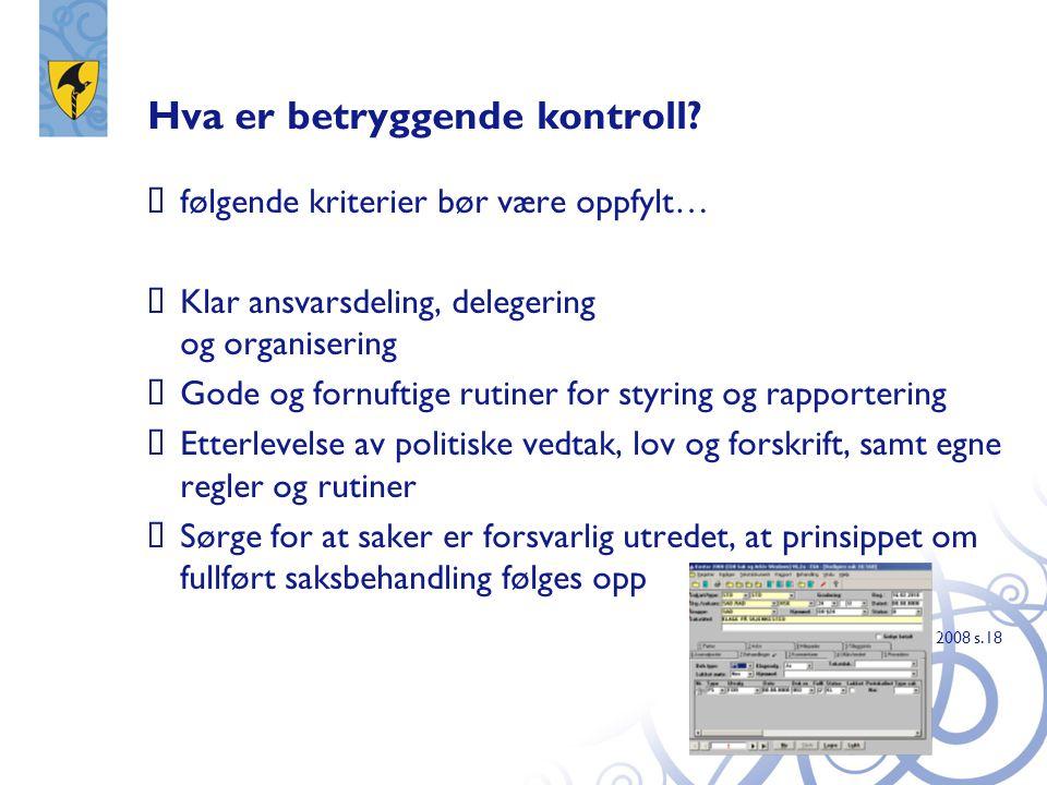 Hva er betryggende kontroll?  følgende kriterier bør være oppfylt…  Klar ansvarsdeling, delegering og organisering  Gode og fornuftige rutiner for