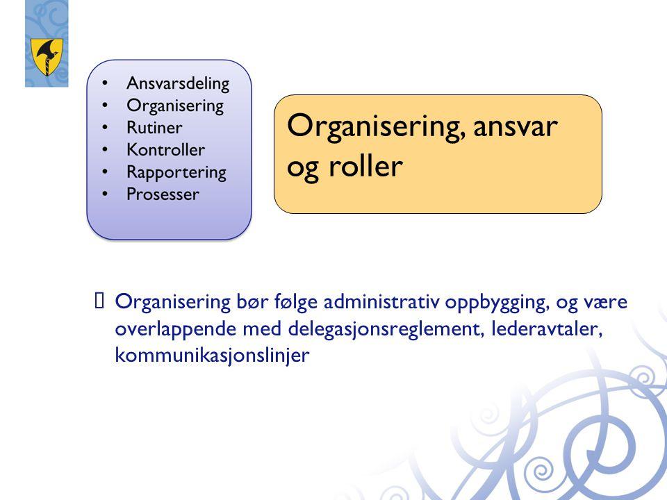  Organisering bør følge administrativ oppbygging, og være overlappende med delegasjonsreglement, lederavtaler, kommunikasjonslinjer Organisering, ans