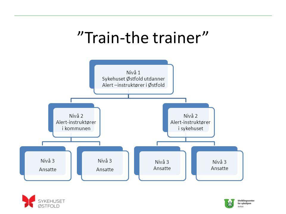 Train-the trainer Nivå 1 Sykehuset Østfold utdanner Alert –instruktører i Østfold Nivå 2 Alert-instruktører i kommunen Nivå 3 Ansatte Nivå 3 Ansatte Nivå 2 Alert-instruktører i sykehuset Nivå 3 Ansatte