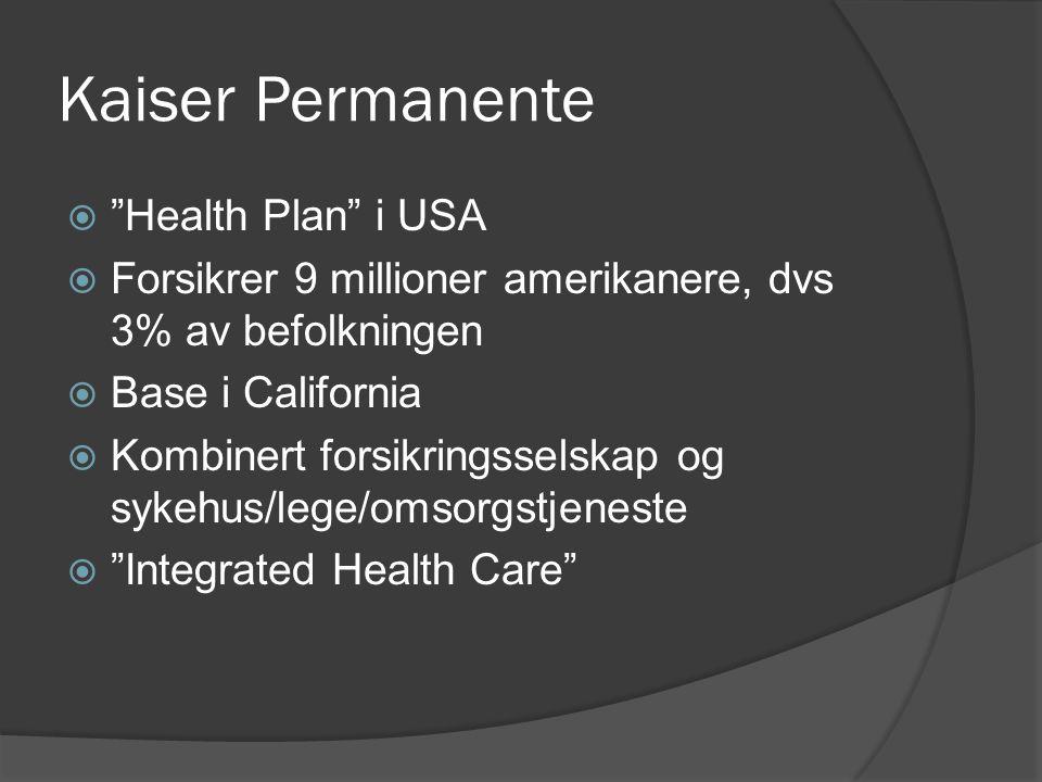 """Kaiser Permanente  """"Health Plan"""" i USA  Forsikrer 9 millioner amerikanere, dvs 3% av befolkningen  Base i California  Kombinert forsikringsselskap"""