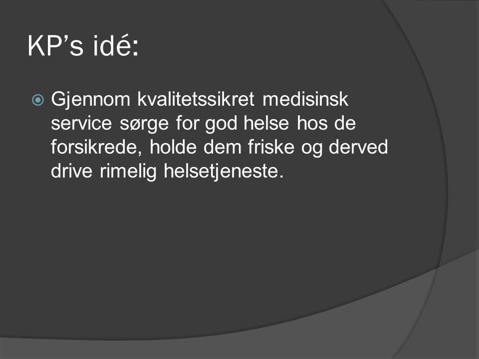 KP's idé:  Gjennom kvalitetssikret medisinsk service sørge for god helse hos de forsikrede, holde dem friske og derved drive rimelig helsetjeneste.