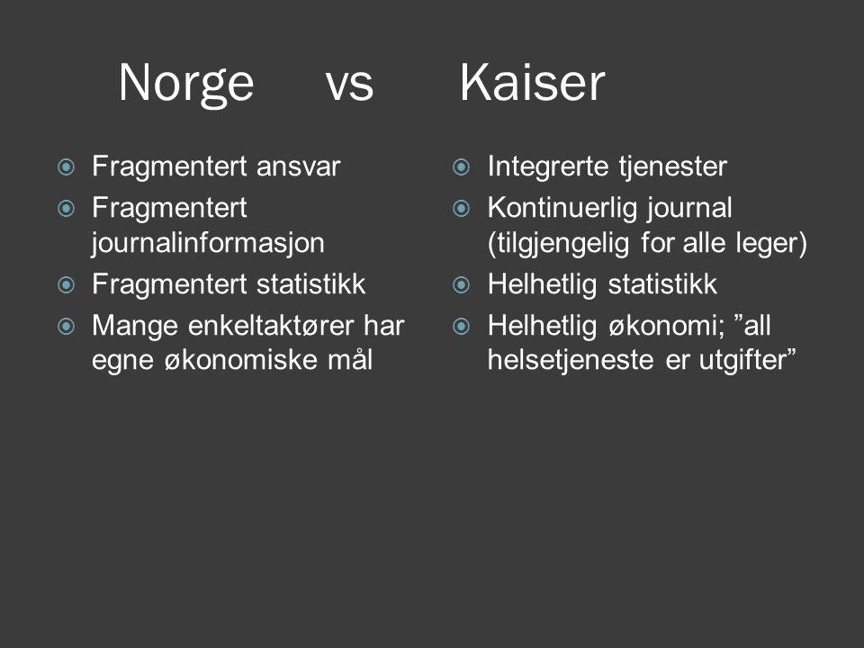 Norge vs Kaiser  Fragmentert ansvar  Fragmentert journalinformasjon  Fragmentert statistikk  Mange enkeltaktører har egne økonomiske mål  Integre