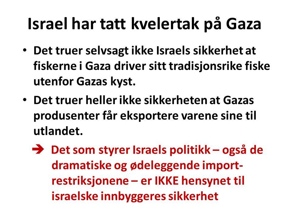 Israel har tatt kvelertak på Gaza Det truer selvsagt ikke Israels sikkerhet at fiskerne i Gaza driver sitt tradisjonsrike fiske utenfor Gazas kyst. De