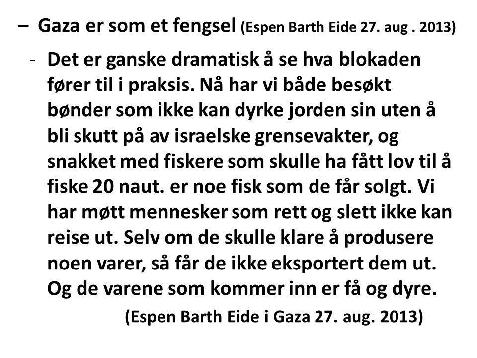 – Gaza er som et fengsel (Espen Barth Eide 27. aug. 2013) -Det er ganske dramatisk å se hva blokaden fører til i praksis. Nå har vi både besøkt bønder