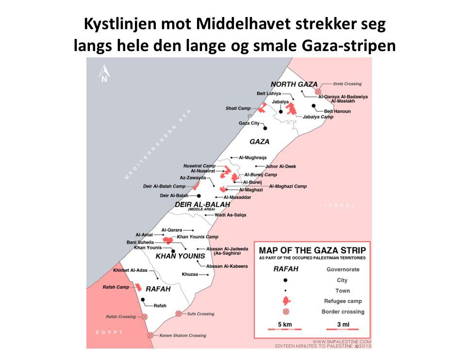 Kystlinjen mot Middelhavet strekker seg langs hele den lange og smale Gaza-stripen