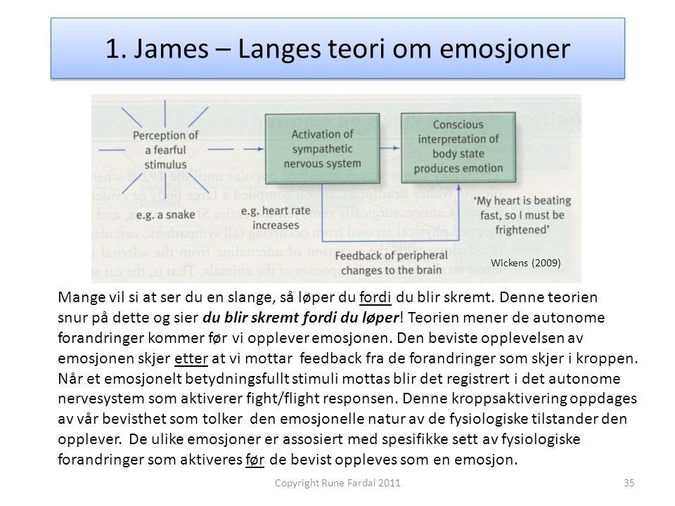 1. James – Langes teori om emosjoner 35Copyright Rune Fardal 2011 Mange vil si at ser du en slange, så løper du fordi du blir skremt. Denne teorien sn