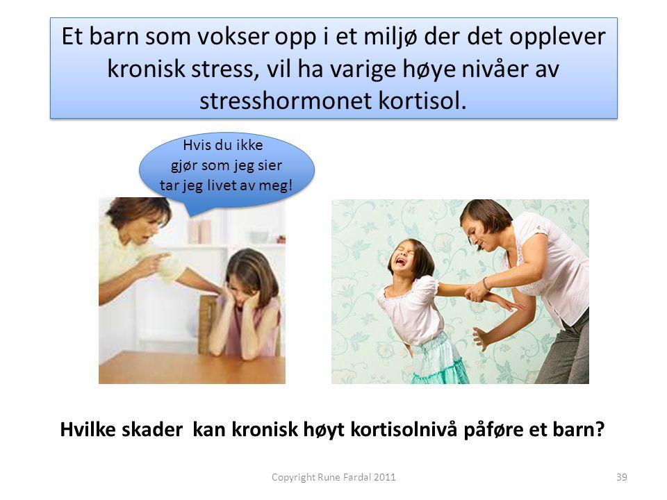 Et barn som vokser opp i et miljø der det opplever kronisk stress, vil ha varige høye nivåer av stresshormonet kortisol. Hvilke skader kan kronisk høy