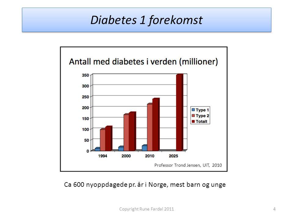 Diabetes 1 forekomst 4Copyright Rune Fardal 2011 Professor Trond Jensen, UiT, 2010 Ca 600 nyoppdagede pr. år i Norge, mest barn og unge