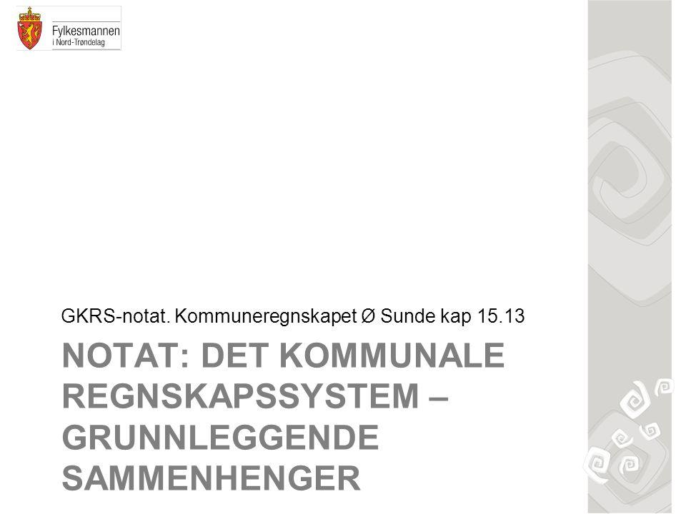 NOTAT: DET KOMMUNALE REGNSKAPSSYSTEM – GRUNNLEGGENDE SAMMENHENGER GKRS-notat. Kommuneregnskapet Ø Sunde kap 15.13