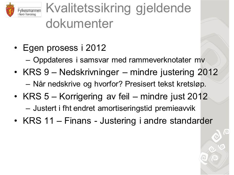 Kvalitetssikring gjeldende dokumenter Egen prosess i 2012 –Oppdateres i samsvar med rammeverknotater mv KRS 9 – Nedskrivninger – mindre justering 2012