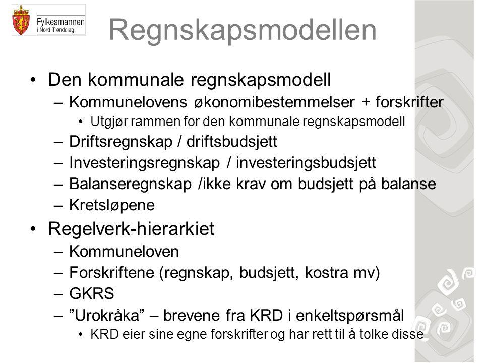 Regnskapsmodellen Den kommunale regnskapsmodell –Kommunelovens økonomibestemmelser + forskrifter Utgjør rammen for den kommunale regnskapsmodell –Drif