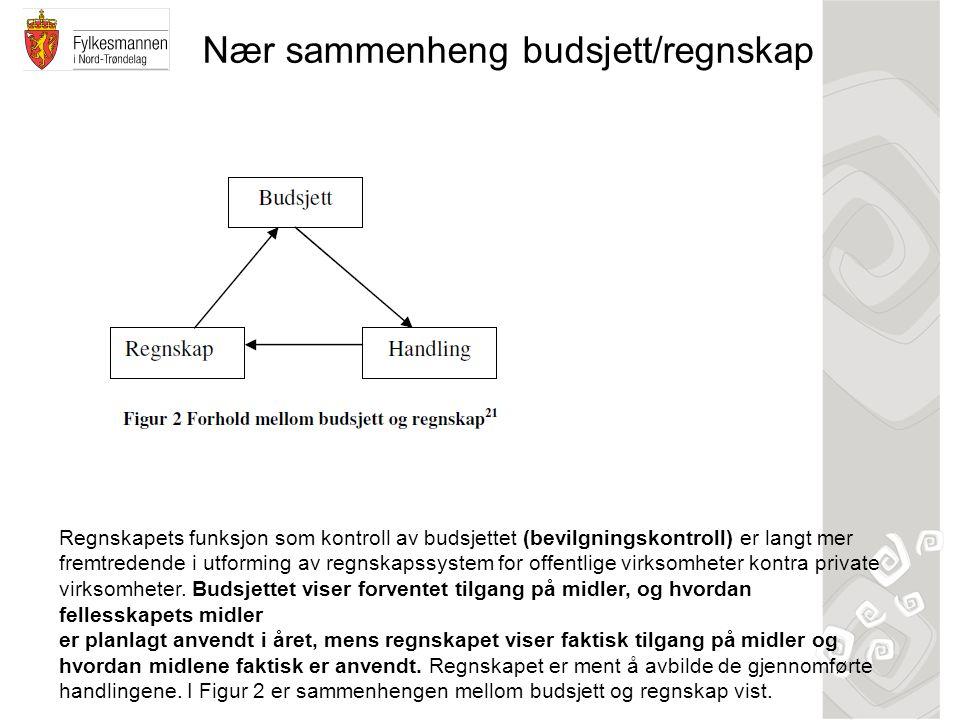 Nær sammenheng budsjett/regnskap Regnskapets funksjon som kontroll av budsjettet (bevilgningskontroll) er langt mer fremtredende i utforming av regnsk