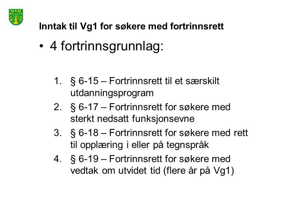 Inntak til Vg1 for søkere med fortrinnsrett 4 fortrinnsgrunnlag: 1.§ 6-15 – Fortrinnsrett til et særskilt utdanningsprogram 2.§ 6-17 – Fortrinnsrett for søkere med sterkt nedsatt funksjonsevne 3.§ 6-18 – Fortrinnsrett for søkere med rett til opplæring i eller på tegnspråk 4.§ 6-19 – Fortrinnsrett for søkere med vedtak om utvidet tid (flere år på Vg1)