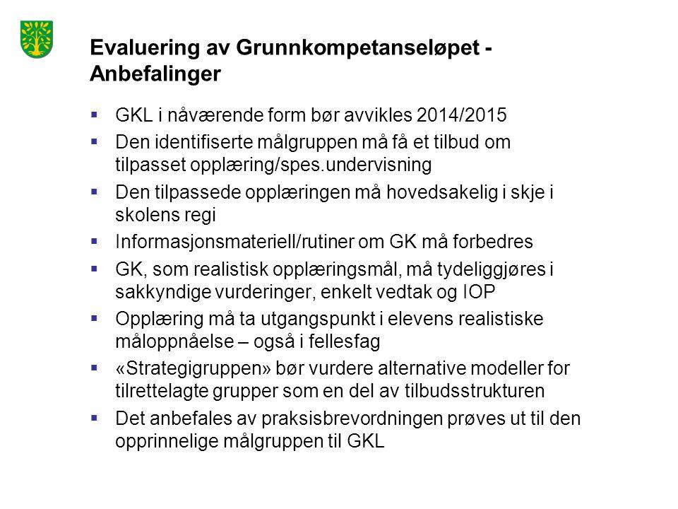 Evaluering av Grunnkompetanseløpet - Anbefalinger  GKL i nåværende form bør avvikles 2014/2015  Den identifiserte målgruppen må få et tilbud om tilpasset opplæring/spes.undervisning  Den tilpassede opplæringen må hovedsakelig i skje i skolens regi  Informasjonsmateriell/rutiner om GK må forbedres  GK, som realistisk opplæringsmål, må tydeliggjøres i sakkyndige vurderinger, enkelt vedtak og IOP  Opplæring må ta utgangspunkt i elevens realistiske måloppnåelse – også i fellesfag  «Strategigruppen» bør vurdere alternative modeller for tilrettelagte grupper som en del av tilbudsstrukturen  Det anbefales av praksisbrevordningen prøves ut til den opprinnelige målgruppen til GKL