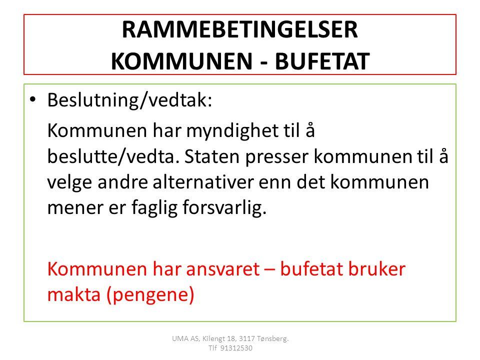 RAMMEBETINGELSER KOMMUNEN - BUFETAT Beslutning/vedtak: Kommunen har myndighet til å beslutte/vedta.